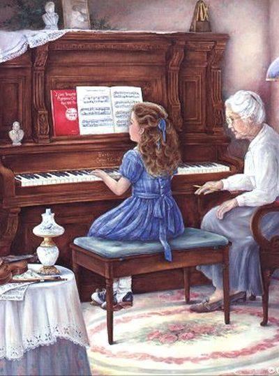 Leçon de piano avec Mamie :)